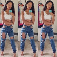 Low Waist Cut Out Rough Holes Long Skinny Jeans