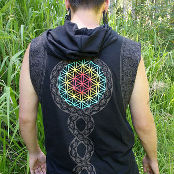Flower of life Serpent / Mens Clothing / Unisex / Hooded top / Cut off sleeves / Organic cotton /festival shirt / Sacred Geometry /