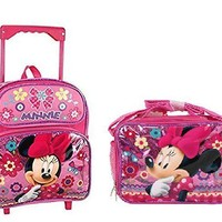 """Disney Minnie Mouse Shine Pink 16"""" Rolling Backpack With Lunch Bag"""