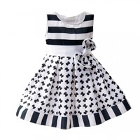 Baby Girl/Girl's Wedding Party Pageant Birthday Dress Striped & Bow Printed Pleated Dress
