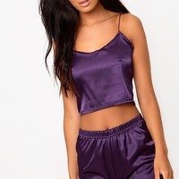 Purple Satin Pyjama Shorts Set