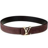 Louis Vuitton Replica Brass Logo Buckle Brown Suede Leather Belt