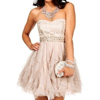 Eloise- Nude Taupe Homecoming Dress