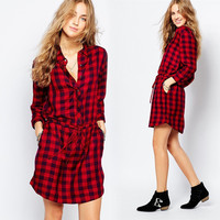 Hot Sale Long Sleeve Red Plaid One Piece Dress = 5861740161