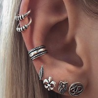7 Pcs/set Fashion Personality Bohemia Style Geometry Earrings 171120