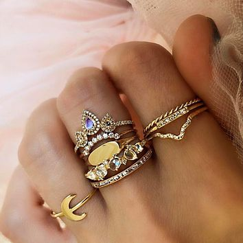 Vintage gold women's moonstone color 9-piece combination ring