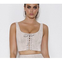 SUEDE LACE-UP TOP