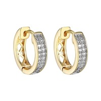 18k Gold Plated  CZ Hoop Huggie Men Womens Hip Hop Earrings Classy