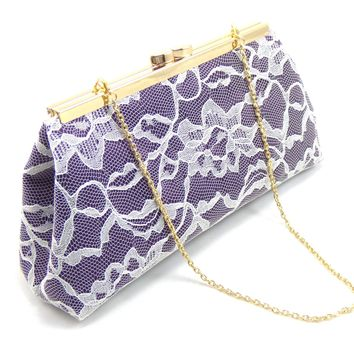 Eggplant Purple, Ivory Lace and Gold Flake Bridal Clutch