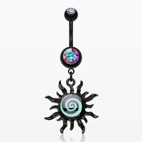 Blackline Glow Hypnotic Swirl Sun Belly Button Ring