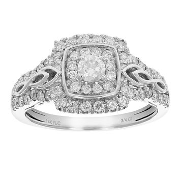 0.56 Carats 3/4 CT Diamond Engagement Ring 14K White Gold