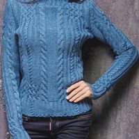 Blue High Neck Casual Going out Knitted Pullover Sweater