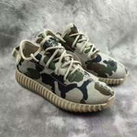 """""""Adidas"""" Women Yeezy Boost Sneakers Running Sports Shoes SPYL-350 Camouflage GREEN"""