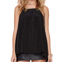 Spaghetti Strap Pleated Chiffon Tank Top