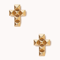 FOREVER 21 Spiked Cross Studs Gold One
