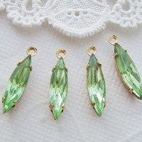 Vintage Faceted Light Peridot Green Navette  Rhinestone 15x4mm Glass Stones 1 Ring Drops  - 4