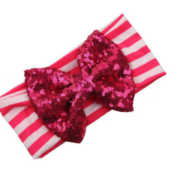 Fuschia Pink & White Stripe Sequin Bow Headband - Baby, Infant Toddler Head Wrap - Ann Marie Avenue