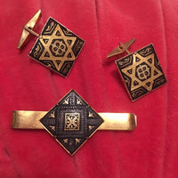 Vintage Spanish Damascene Star of David Cuff Links and Tie Tack