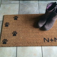 """Welcome mat / Doormat Personalized with Initial and dog or cat paw prints - 18x30"""" natural coir"""