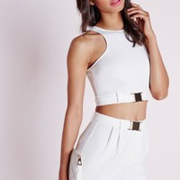 Missguided - Sleeveless Buckle Detail Crop Top White
