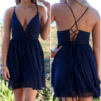 Chilled Wine Navy Baby Doll Dress