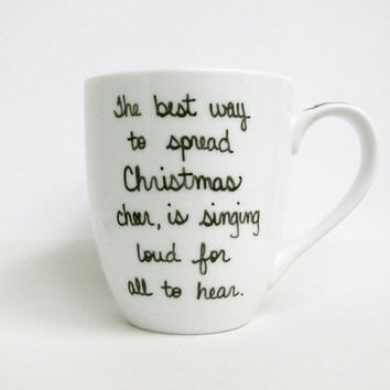 """Buddy the Elf Mug - Christmas Mug - """"The best way to spread Christmas cheer is singing loud for all to hear"""" with Red and White Stripes"""