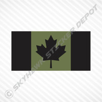 Subdued Canadian Flag Olive Green Sticker Vinyl Decal Canada Armed Forces Police
