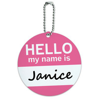 Janice Hello My Name Is Round ID Card Luggage Tag