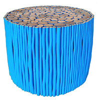 """18"""" Uca Round Coffee Table, Blue/Natural,"""