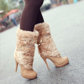 Noble Smile Face Chain Embellished Fur High Heel Boots Apricot = 1931835716