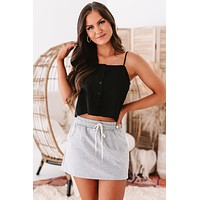 Cutting Loose Button-Front Crop Tank Top (Black)