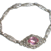"""Art Deco Filigree Bracelet with Light Pink Stones with Silver Rhodium Plated Lacy Filigree - 6"""" Bracelet Antique Vintage Jewelry"""