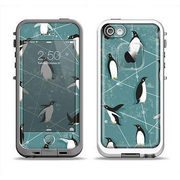 The Vintage Penguin Blue Collage Apple iPhone 5-5s LifeProof Fre Case Skin Set