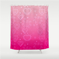 Pink Hearts Shower Curtain Pink Ombre Light To Bright Pink Love Valentines Home Bath Room Unique Decor