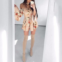 Cindy Willow Off-the-Shoulder Choker Romper