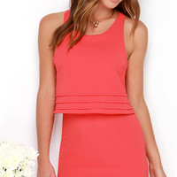 Dee Elle Tier Say Coral Red Dress