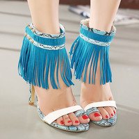 Fringe Sandals High Heel Women Sandal Party