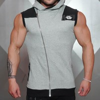Running Vests Jogging Quick Dry Hooded Mens Running Shirts Compression Tight Gym Tank Top Fitness Sleeveless T-shirts Sports  KO_11_1