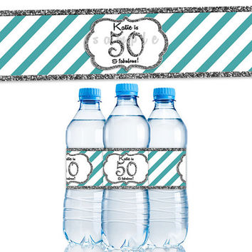 Silver Glitter Stripe Womens Birthday Party Favor Water Bottle Label - Adult Birthday Decor - Robins Egg Blue Teal Aqua Elegant Fancy 50th