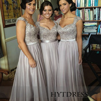 Grey Prom dress Bridesmaid Dress Lace&Long Bridesmaid dresses Chiffon Dress With cap sleeves
