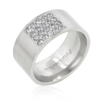 Stainless Steel Pave Cubic Zirconia Men's Ring, size : 11