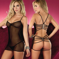 Sexy Lingerie Nightwear Underwear with Neck-hanging Straps and G-string Set (Red Black Blue Pink) One size = 1932088132