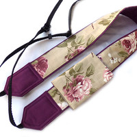 DSLR Camera Strap with pocket. SLR, Mirrorless Camera Strap. Roses Camera Strap. Flowers Camera Strap. Canon, Nikon Camera Strap.