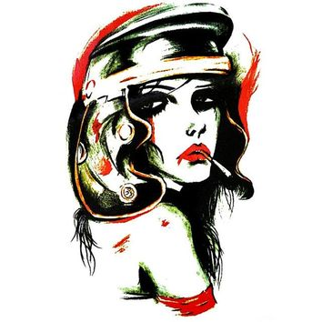Vintage Large Temporary Tattoo Lady Intense [Color]