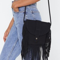 WANT Just Got Suede Tassel Crossbody Bag