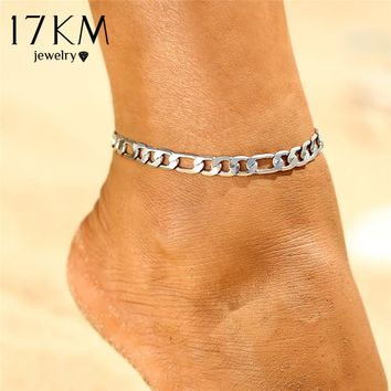 17KM 2017 New Glod Color Sequins Anklet for Women Fashion Punk Style Link Chain Anklets Accessories Boots bijoux femme Jewlery