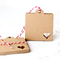 25 Kraft Tags - Your Choice of Color - Perfect Wedding Tags, Merchandise Tags, Gift Tags, Scrapbooking / Art Projects and More.