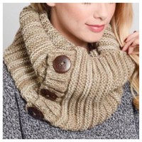 Cozy Warm Chunky Knit Button Accent Mocha Infinity Scarf