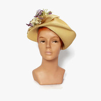Vintage 40s Straw HAT / 1920s Natural Straw Sculpted Summer Hat with Lavender Floral Trim