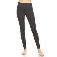 Fold Over Waistband Full Length Leggings - Charcoal